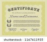 yellow certificate template.... | Shutterstock .eps vector #1167611935