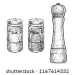 salt  pepper shaker  and... | Shutterstock .eps vector #1167614332