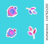 stylized flowers  dashed lines  ... | Shutterstock . vector #1167621202