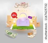 shopping online on website or... | Shutterstock .eps vector #1167625732