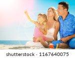 family on the beach   Shutterstock . vector #1167640075