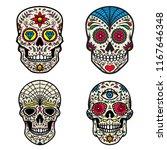 set of colorful sugar skull... | Shutterstock .eps vector #1167646348
