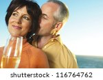 a romantic middle aged man...   Shutterstock . vector #116764762