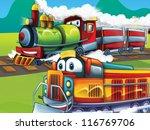 The cartoon locomotive - happy one - illustration for the children - stock photo