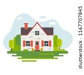cute house in flat style... | Shutterstock . vector #1167707845