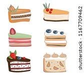 vector set of pieces of cake...   Shutterstock .eps vector #1167709462