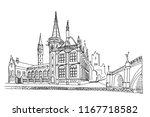 vector sketch of embankment... | Shutterstock .eps vector #1167718582