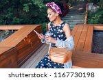 romantic  black woman in trendy ... | Shutterstock . vector #1167730198