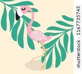 cute pink flamingo  tropical... | Shutterstock .eps vector #1167735745