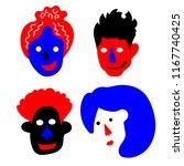 strange cartoon faces of people ... | Shutterstock .eps vector #1167740425