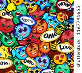 cool new emoji background faces ... | Shutterstock .eps vector #1167741655