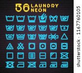 36 laundry set icon neon style... | Shutterstock .eps vector #1167760105