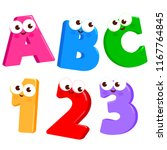 cartoon letters abc and numbers ... | Shutterstock .eps vector #1167764845