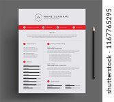 stylish cv   resume design... | Shutterstock .eps vector #1167765295