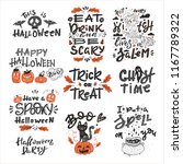 vector halloween set with... | Shutterstock .eps vector #1167789322