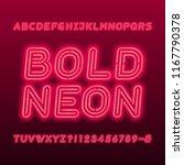 neon lamp alphabet font. neon... | Shutterstock .eps vector #1167790378