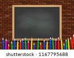 colored pencils on black school ...   Shutterstock .eps vector #1167795688