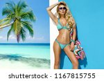 beautiful  sexy woman in bikini ... | Shutterstock . vector #1167815755