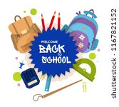 welcome back to school label ... | Shutterstock .eps vector #1167821152
