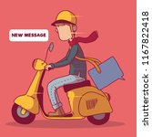 guy on a moped delivering a... | Shutterstock .eps vector #1167822418