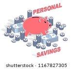 personal savings concept  piggy ... | Shutterstock .eps vector #1167827305