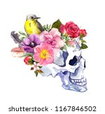 human skull with bird in... | Shutterstock . vector #1167846502