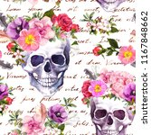 human skulls with flowers for... | Shutterstock . vector #1167848662