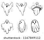whisper ghost hand draw set.... | Shutterstock .eps vector #1167849112