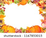 thanksgiving frame   fruits and ... | Shutterstock . vector #1167853015