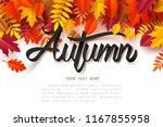 paper art of autumn calligraphy ... | Shutterstock .eps vector #1167855958