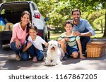 happy family on a picnic... | Shutterstock . vector #1167867205