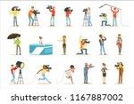 news program crew of... | Shutterstock .eps vector #1167887002