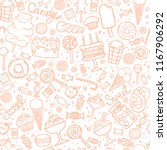 doodle candy background.... | Shutterstock .eps vector #1167906292