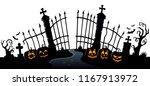 cemetery gate silhouette theme... | Shutterstock .eps vector #1167913972