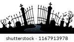 cemetery gate silhouette theme... | Shutterstock .eps vector #1167913978