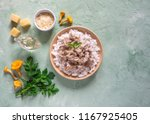 risotto of chanterelles on a... | Shutterstock . vector #1167925405