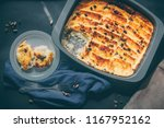 bread pudding served in a plate ... | Shutterstock . vector #1167952162