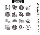 monetary icon. 16 monetary... | Shutterstock .eps vector #1167977635