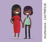 cute lesbian couple vector... | Shutterstock .eps vector #1167989218