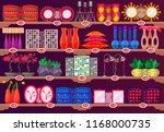 interior showcase or shelves... | Shutterstock .eps vector #1168000735