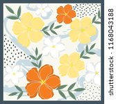 beautiful flower scarf pattern | Shutterstock .eps vector #1168043188