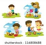 illustration of kids on a white ... | Shutterstock .eps vector #116808688