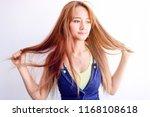 closeup portrait of female...   Shutterstock . vector #1168108618