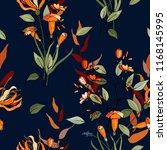 retro wild seamless flower... | Shutterstock .eps vector #1168145995