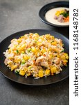 homemade fried rice with chicken | Shutterstock . vector #1168148782
