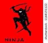 ninja with sword preparing to... | Shutterstock .eps vector #1168151122