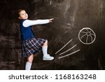 cute little schoolgirl against... | Shutterstock . vector #1168163248