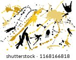 hand drawn set of golden ink...   Shutterstock .eps vector #1168166818