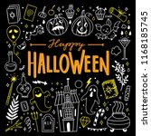 halloween cute outline drawings ... | Shutterstock .eps vector #1168185745