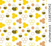 honeycombs and bees. seamless... | Shutterstock .eps vector #1168195042